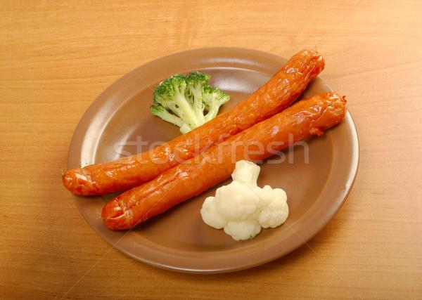 Salsichas brócolis couve-flor batata salsicha Foto stock © fanfo