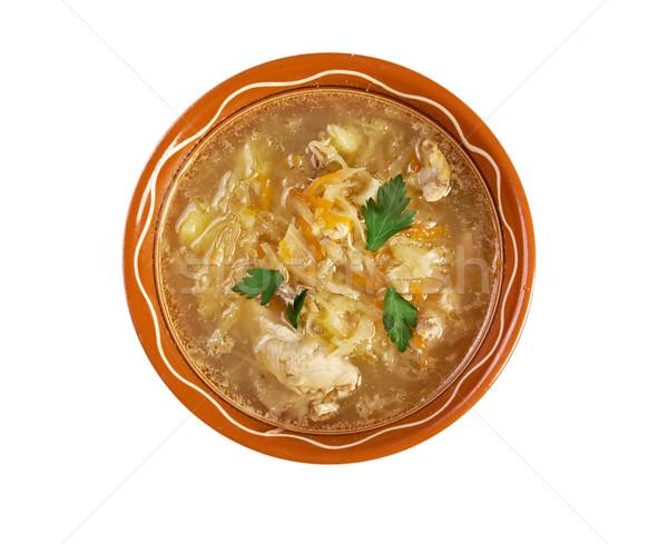 Savanyú káposzta leves étel asztal piros fehér Stock fotó © fanfo