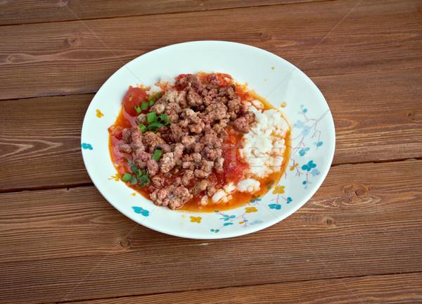 Stock fotó: Török · előétel · hús · paradicsomok · rizs · fűszer