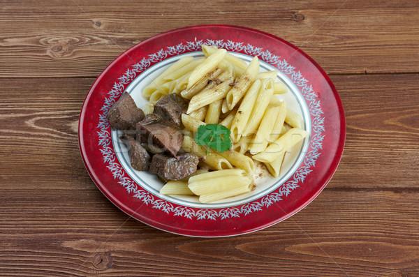 Delicious pasta with pork liver  Stock photo © fanfo