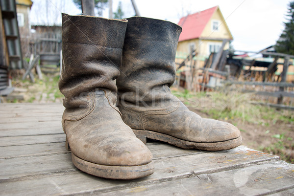 old muddy farmers boots Stock photo © fanfo