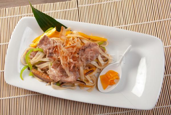 Tészta hús padlizsán japán konyha étel Stock fotó © fanfo