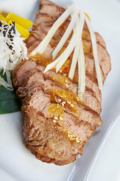 ızgara sığır eti sığ gıda bıçak yemek Stok fotoğraf © fanfo