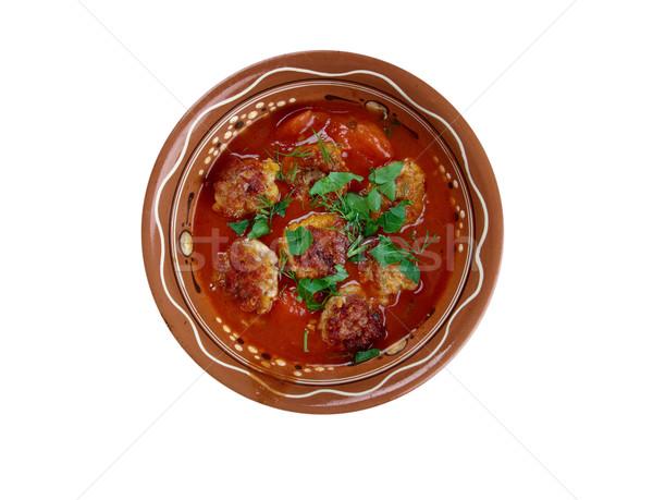 Stock fotó: Finom · török · házi · húsgombócok · paradicsomszósz · étel