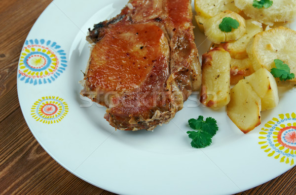 Cerdo casero papa pollo cena Foto stock © fanfo