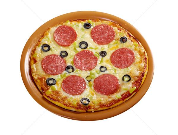 Home pizza pepperoni isolato bianco formaggio Foto d'archivio © fanfo