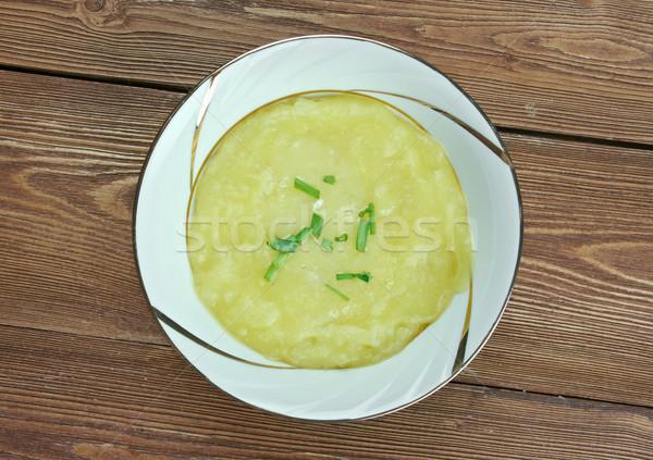 Prei soep kom houten eten plantaardige Stockfoto © fanfo