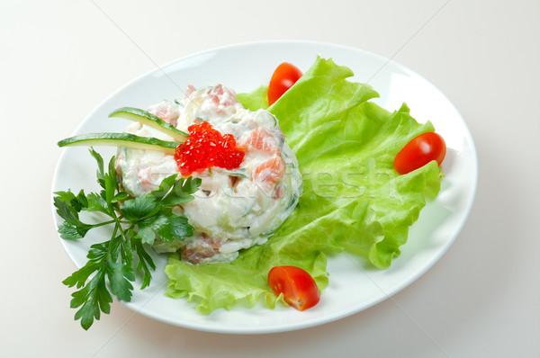 Saláta lazac ikra egészséges vegetáriánus fehér Stock fotó © fanfo