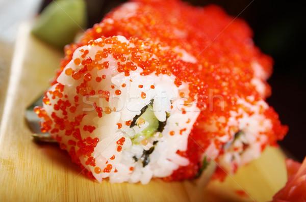Zsemle füstölt hal piros ikra japán Stock fotó © fanfo