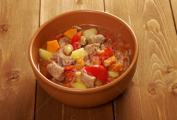 l Hungarian hot goulash soup Stock photo © fanfo