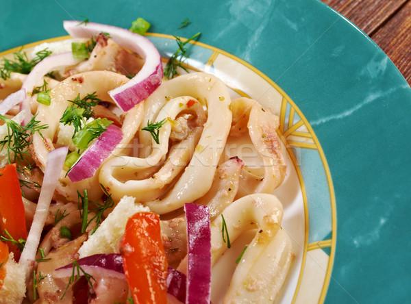 地中海 魚 赤 サラダ 唐辛子 皿 ストックフォト © fanfo