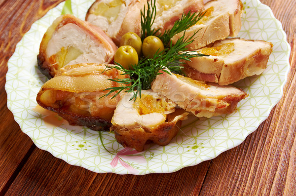 Meat wrapped rolls with turkey Stock photo © fanfo