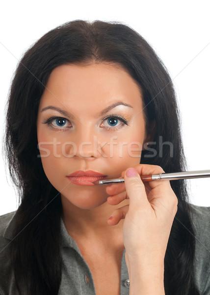 Modellek szem smink lány ajak profi Stock fotó © fanfo