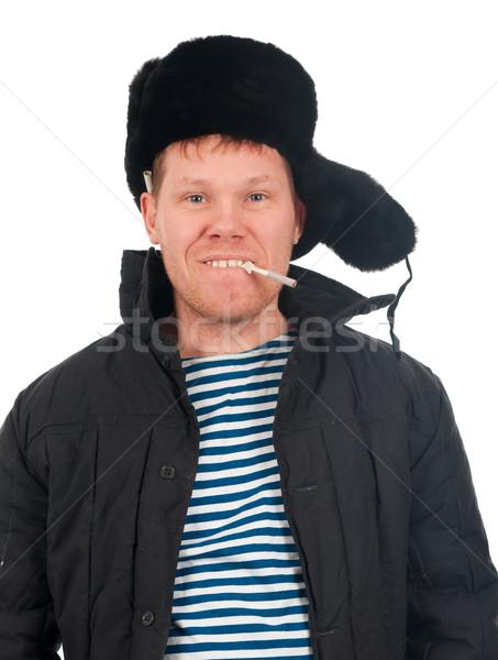 Rus adam kış kürk kapak plaka Stok fotoğraf © fanfo