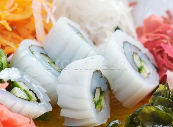 Sałatka wodorost żywności tablicy naczyń Zdjęcia stock © fanfo