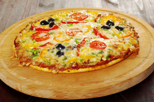 home pizza with tomato and eggplant   Stock photo © fanfo