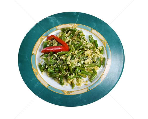 サヤインゲン サラダ チーズ 孤立した 白 庭園 ストックフォト © fanfo