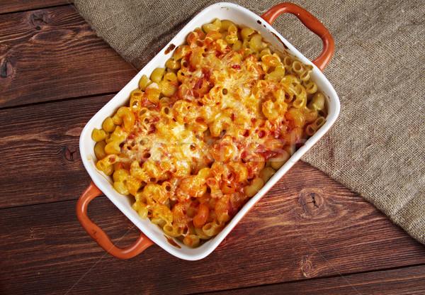 Pasta elleboog macaroni bakken tomatensaus mozzarella Stockfoto © fanfo