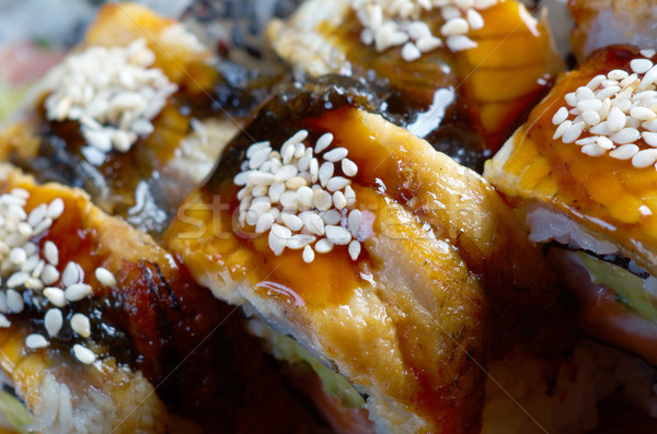 Rotolare affumicato anguilla japanese sushi maki Foto d'archivio © fanfo