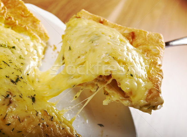 Qutab - baked lavash cheese pie .georgian bread and cheese suluguni  Stock photo © fanfo