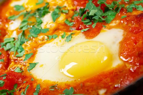 блюдо яйца соус помидоров лук Сток-фото © fanfo
