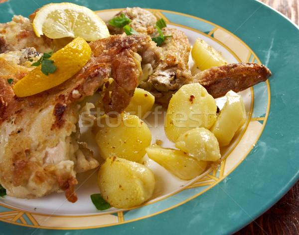 Сток-фото: лимона · куриные · хрустящий · картофель · хлеб · приготовления