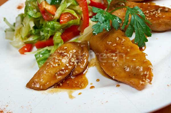 Gegrilde kip borsten groenten borst plaat vlees Stockfoto © fanfo