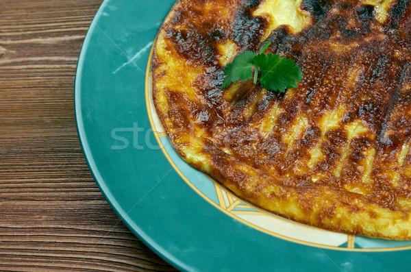 Hagyományos tojások Belgium sült szalonna kontinentális reggeli Stock fotó © fanfo