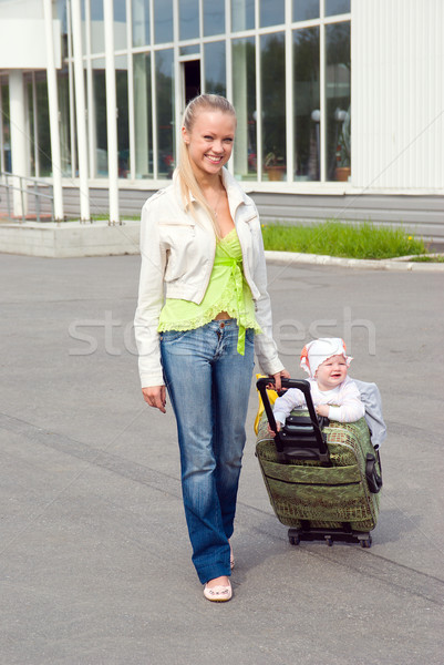 girl and child in valise. Stock photo © fanfo