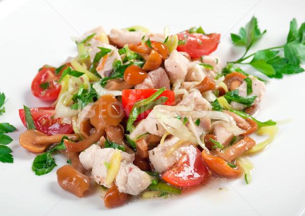 healthy salad of pork,mushrooms Stock photo © fanfo