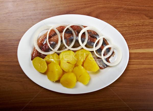 Balık patates soğan biber biftek nesneler Stok fotoğraf © fanfo