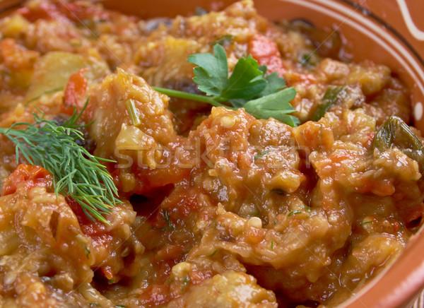 Padlizsán saláta étel vacsora piros ebéd Stock fotó © fanfo