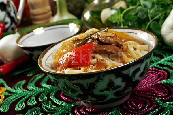 oriental uzbek soup lagman  - Uzbek cuisine Stock photo © fanfo