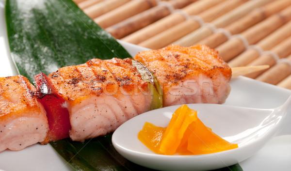 Stockfoto: Japans · zalm · achtergrond · presentatie · asia · barbecue