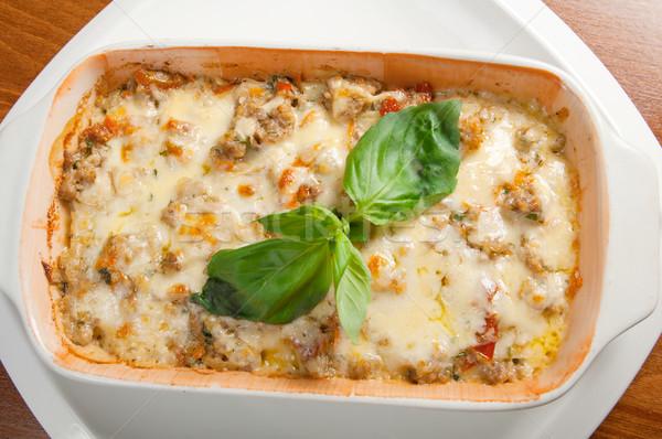 Lasagne rundvlees italiaanse keuken restaurant kaas diner Stockfoto © fanfo