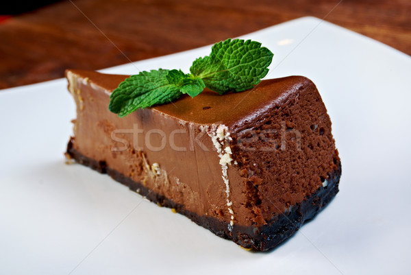 Chocolat cheesecake blanche plaque vert sweet Photo stock © fanfo
