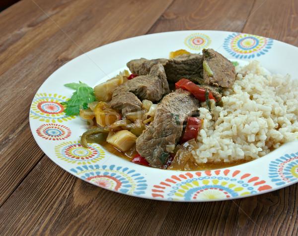 Török hús edény bárány zöldségek eszik Stock fotó © fanfo