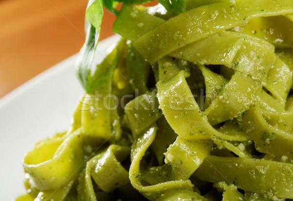 Tagliatelle pasta pesto licht plaat Stockfoto © fanfo