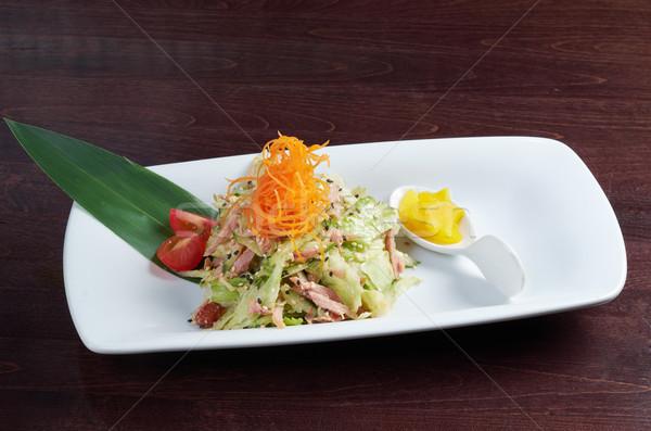 Japán saláta füstölt tyúk zöldségek közelkép Stock fotó © fanfo