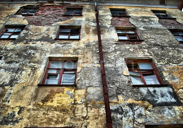 Photo stock: Abandonné · maison · texture · bâtiment · ville · mur