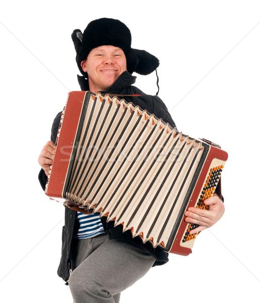 Rus adam akordeon sanat Retro kol Stok fotoğraf © fanfo