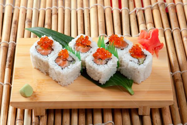 Japán szusi hagyományos füstölt hal piros Stock fotó © fanfo