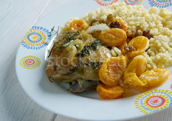 Sárgabarack mandula tyúk gyümölcs zöldségek étel Stock fotó © fanfo