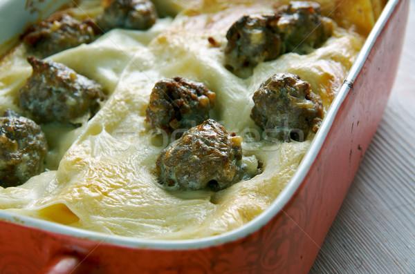 Lasagne terv sajt vacsora tészta főzés Stock fotó © fanfo