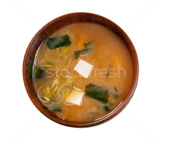 Сток-фото: суп · японская · еда · фон · зеленый · Кубок · Японский
