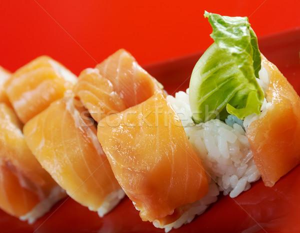 フィラデルフィア 日本語 寿司 鮭 チーズ ストックフォト © fanfo