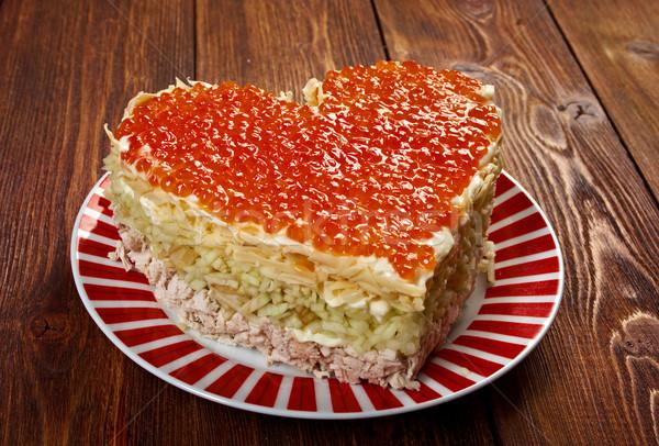 Salada de frango maçã vermelho dia dos namorados comida Foto stock © fanfo