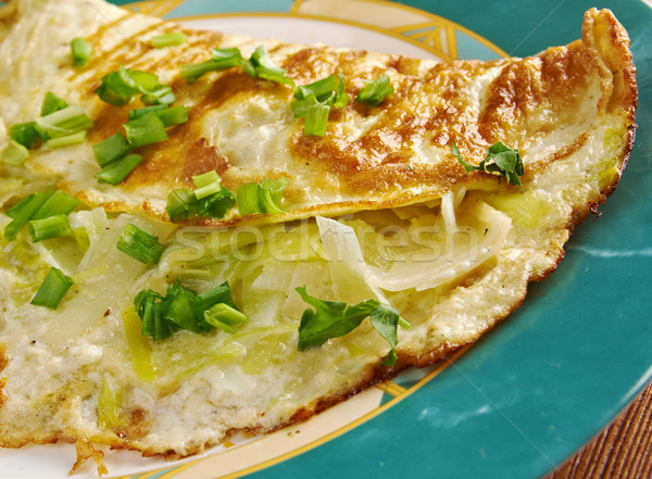 Omelette with fresh leek Stock photo © fanfo