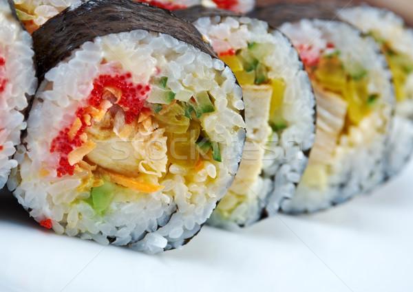Zsemle tyúk tojások zöldségek japán hal Stock fotó © fanfo