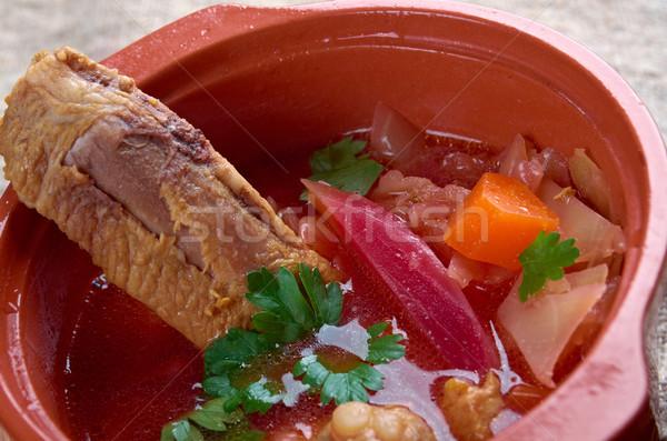 Oriental europeu sopa carne de porco barriga jantar Foto stock © fanfo